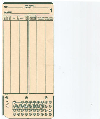 MJR8000 time cards